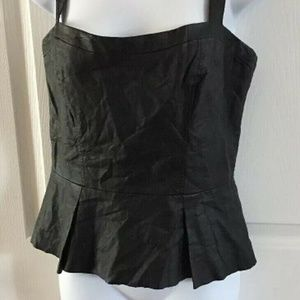 BEBE Cami Top Medium Black Faux Leather